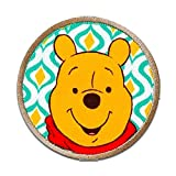 Iron on Patches - Winnie The Pooh Winnie Button - Yellow - Ø6cm - Application Embroided Patch Badges