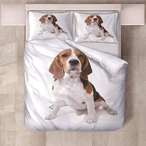 JKZHILOVE Duvet Cover Set White animal beagle 3D Bedding 3 pcs with Zipper Closure 230x220cm Duvet Covers with 2 Pillow covers 50x75cm Ultra Soft Hypoallergenic Microfiber Quilt Cover Sets