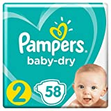 Couches Pampers Taille 2 (3-6 kg) - Baby Dry, 58 couches - Pack Géant