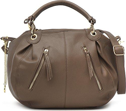 Masquenada, Damen Handtaschen, Henkeltaschen, Bowlingbags, 36,5x25,5x12,5cm (B x H x T), Farbe:Taupe