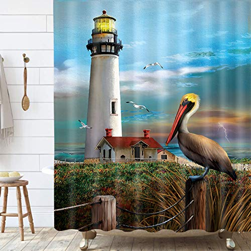 Beach Coastal Shower Curtain, Nautical Lighthouse Animal Cute Bird Pelican on Ocean Seascape Shower Curtain, Waterproof Polyester Stall Curtains with 12 Hooks for Bathroom Showers 69x70Inches