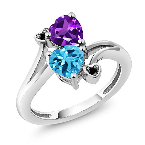 Gem Stone King 1.63 Ct Heart Shape Purple Amethyst Swiss Blue Topaz 925 Sterling Silver Ring (Size 9)