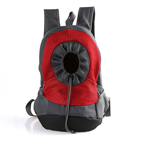 RC GearPro Mochila portátil para Mascotas, diseño de Cabeza hacia afuera, Ajustable, para Gato, Perro, Viaje, Bolso de Hombro Delantero, fácil de Ajustar para Viajar, Caminar, Acampar (S, Rojo)