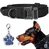 LIVETTY Collar de perro ajustable con asa control robusta, collar táctico para perros hebilla metal resistente medianos y grandes, ancho 3,8 cm, entrenamiento K9, nailon, M