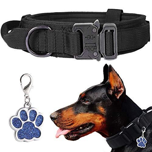 LIVETTY Collar de perro ajustable con mango control robusto, collar táctico para perros hebilla metal resistente medianos y grandes, ancho 3,8 cm, entrenamiento K9, nailon, L