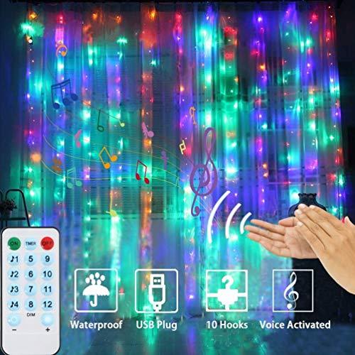 LEDGLE 300 LED lichterketten vorhang 3x3M Lichtervorhang, USB 4 Sprachsteuerung Modi & 8 Modi mit Farbe für Innen Außen Garten Party Hochzeit Weihnachten, Partydekoration, Farbe, IP44 Wasserdicht