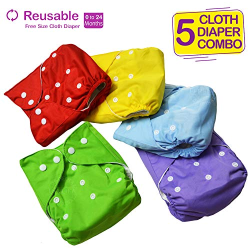 Bembika Baby Pocket Cloth Diapers Reusable Cloth Diapers Washable Adjustable Cloth Diapers One Size Adjustable Reusable (5 Pack) (0-2 Years) (No Inserts Included)