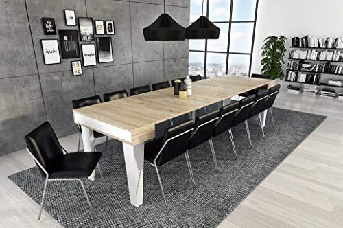 Skraut Home - Table Console Extensible avec rallonges, modèle Nordic kl jusquà 300cm, Salle à Manger, Blanc Mat et chêne brossé. Jusqu´à 14 pers.