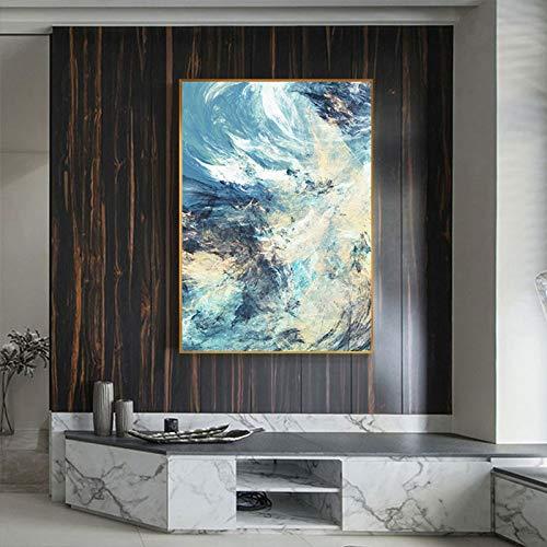 QAZEDC canvas schilderij blauw geel wit lijnen canvas schilderij geheimen verwarming kleur muurkunst schilderij schilderij voor woonkamer Nordic Decor Fashion Poster