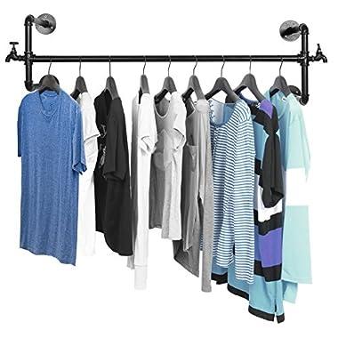 MyGift Black Metal Wall Mounted Faucet Design Closet Rod Garment Rack/Hanging Clothes Bar Display
