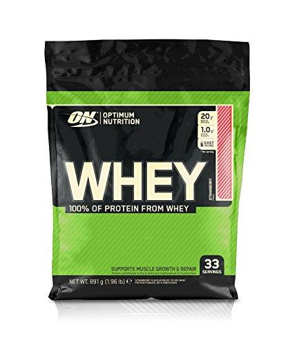 Optimum Nutrition Whey, Shake di Proteine in Polvere a Basso Contenuto di Zuccheri con Aminoacidi per la Crescita Muscolare, Fragola, 891 g, 33 Porzioni