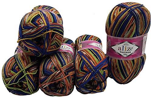 Gomitolo di lana per calze, 5 x 100 g, multicolore, 75% lana vergine, 500 g, per calze e calze