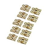 uxcell Iron Toolbox Wooden Case Toggle Box Latch Hasp 30mmx19mmx6mm 10pcs Gold Tone