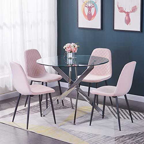 Greneric 2er Set Samt Esszimmerstühle Wohnzimmerstuhl Sessel mit Rückenlehne Sessel Stuhl Scandinavian Vintage Künstlich Rosa mit Stahlbeinen in Schwarz (Rosa, 2)