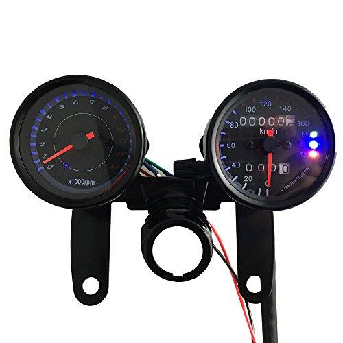 KKmoon Tachometer (13.000 UpM) und Dual-Geschwindigkeitsmesser (km/h) mit LED-Signalanzeige für 12-V-Universalmotorräder