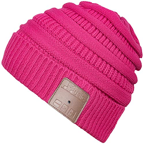 Rotibox Winter Washable Unisex Bluetooth Music Beanie Luxury Soft Warm Hat w/Wireless Headphone Headset Earphone Microphone Hands Free for Excrise Gym Sports Fitness Running Skiing Snowboard - Rose