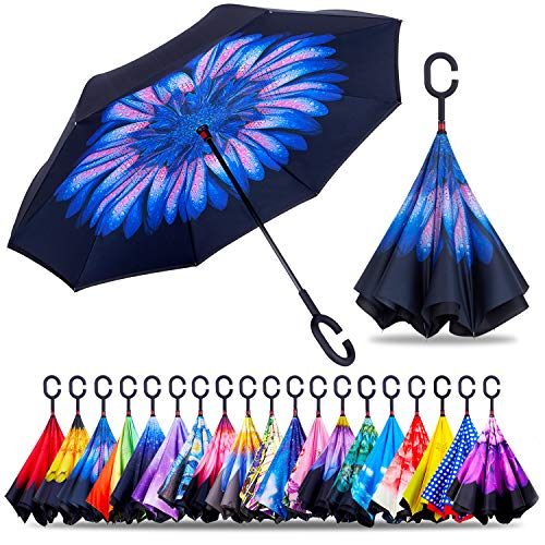 ZOTIA Double Layer Inverted Reverse Umbrella, Winproof Waterproof UV Protection Self Stand Upside Down Car Golf Outdoor Rain Umbrella with C-Shaped Handle-Blue Flower