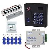 HFeng IP68 Kit Sistema Control Acceso a prueba de agua Teclado Teclado RFID Exteriores + Cerradura magnética eléctrica 180KG / 350lbs + 10pcs 125KHz Tarjeta llaveros