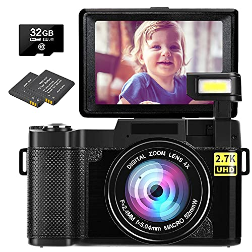 Digital Camera Vlogging Camera 2.7K 30MP Ultra HD Camera Compact Camera 4x Digital Zoom Retractable Flashlight Youtube Camera with 3.0 Inch Flip Screen with 32GB Micro SD Card and 2 Batteries