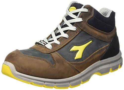 Diadora Run High S3, Scarpe da Lavoro Unisex – Adulto, Marrone (Marrone Scuro/Blu Maiolica), 42 EU