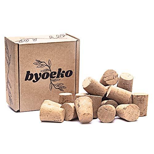 Byoeko tapón de Corcho Natural cónico para Botellas de Vino, aceites, Manualidades, decoración, Creatividad. 20 Unidades