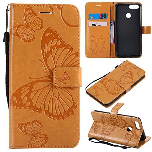 Jeewi Hülle für Huawei Honor 7X Hülle Handyhülle [Standfunktion] [Kartenfach] [Magnetverschluss] Tasche Etui Schutzhülle lederhülle klapphülle für Huawei Honor 7X - JEKT040834 Gelb