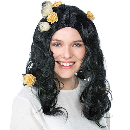 dressforfun Peluca de Bruja Calavera para Mujer | Calaveras y Flores Artificiales Decoracin | Negro de Pelo Medio
