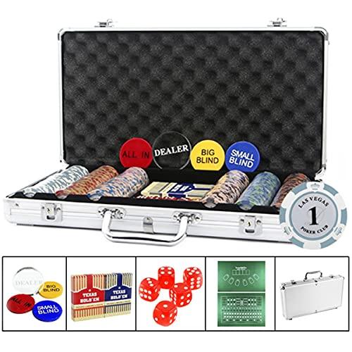 LJ Fichas Poker Juego de póquer con fichas póquer, Incluye 2 Tapas de póquer, 5 Dados, 1 botón Dealer, 1 All IN, tapete de Juego, Carcasa de Aluminio