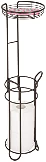 mDesign Freestanding Metal Wire Toilet Paper Roll Holder and Tray Stand for Bathroom Storage Organization - Top Round Storage Shelf for Cell Phone, Book, Spray - Holds 3 Mega Rolls - Bronze