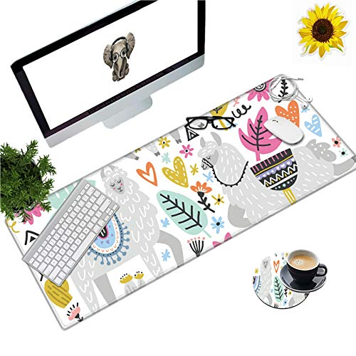 Large Gaming Mouse Pad Office Extended XL Mousepad Non-Slip Soft Keyboard Mouse Mat Home Desktop Writing Pad (31.5'×11.8') with Funny Llama Leaf Design + Cup Coaster and Cute Stickers