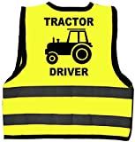 Tractor Driver Baby/Children/Kids Hi Vis Safety Jacket/Vest Size 2-3 Years Yellow Optional Personalised On Front