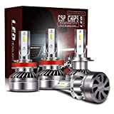 H7 LED Headlight Bulbs + H11/H8/H9 LED Headlight Bulbs Conversion Kit TURBO SII D6 Series CSP Chips Low Beam/Fog Light Bulbs with fans- 6000LM 6000K Cool White ( 4Pack,2 sets )
