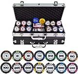 100-500pcs / Set fichas de póquer Conjunto con Caja de Metal Chips de póquer de Trigo Clay Clay Chips Texas Hold'em Poker Conjuntos 14g / PC (Color: 500pcs Black Box)