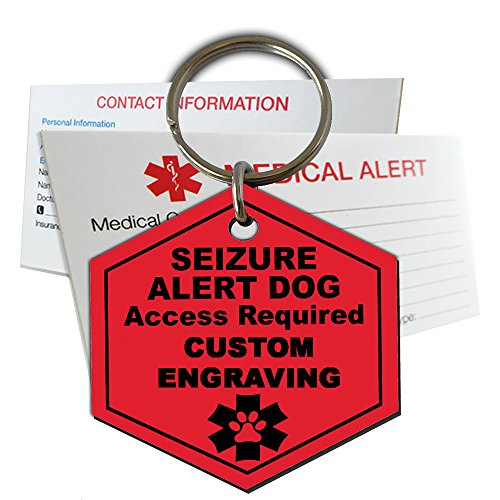 My Identity Doctor Seizure Alert Service Dog Tag Custom Engraved Hexagon Plastic - Red - Large
