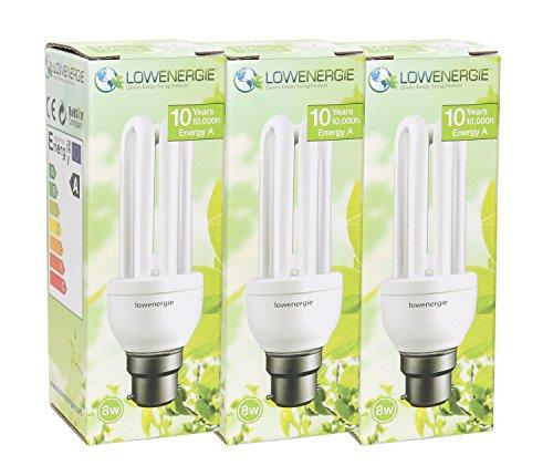 8W (=40W) Energy Saving CFL 6500K Day White colour Light Bulb B22 BC...
