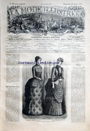 MODE ILLUSTREE (LA) [No 12] du 23/03/1884 - TAPIS POUR TABLE DE JEU - COSTUME EN LAINAGE UNI ET CHINE ET ROBE EN CACHEMIRE DE CHEZ MME COUSSINET - NAPPE POUR TABLE-PLATEAU