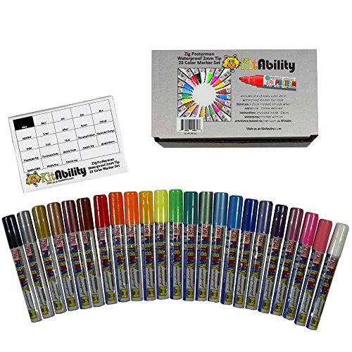 KitAbility Waterproof 2mm 23 Paint Marker Kit Includes 1 Each of All 2mm Zig Posterman Chalk Marker Colors