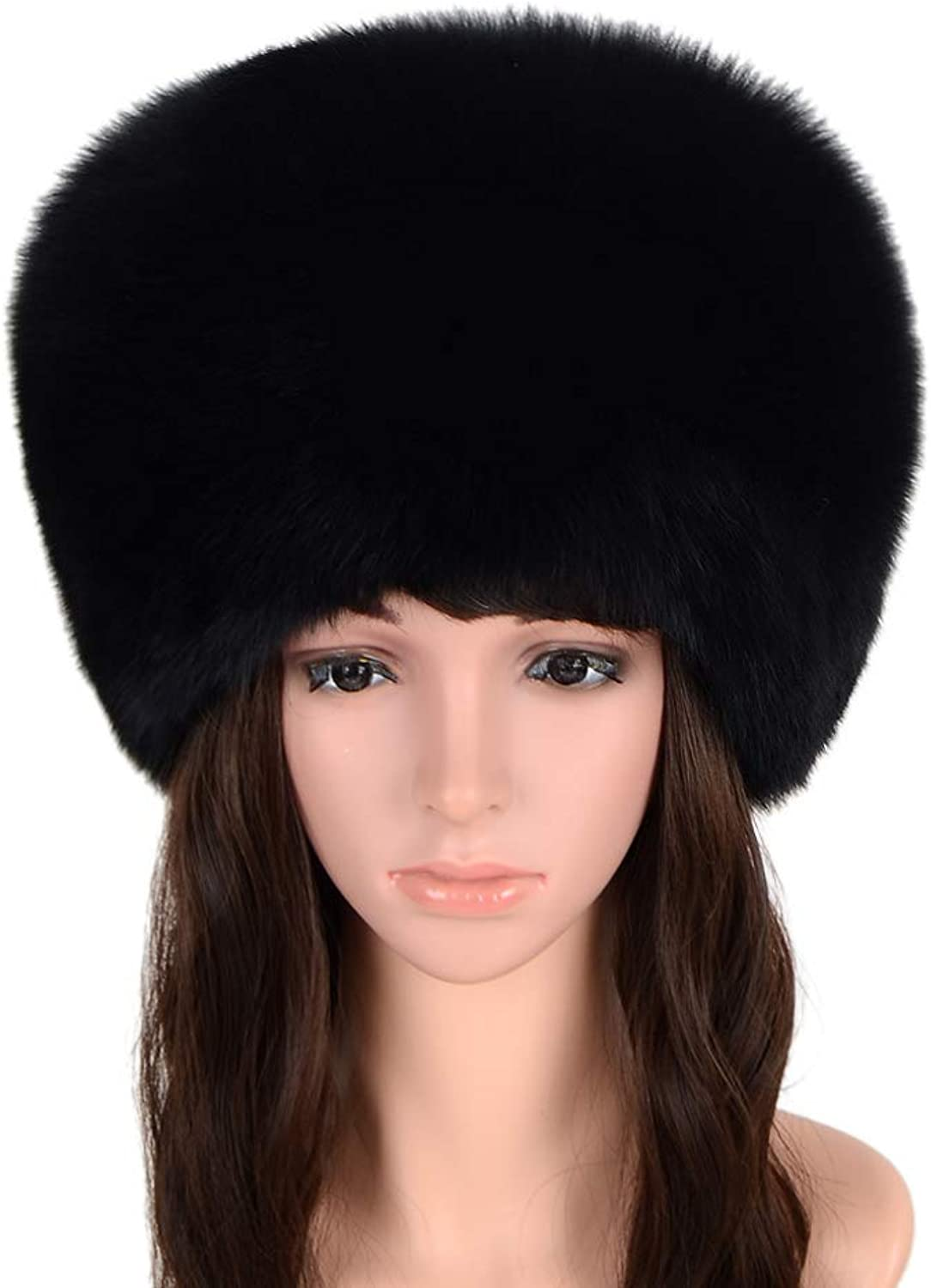 Qmfur Women's Autumn Winter Beanies Genuine Fox Fur Hat WithTail Mongolian Hats