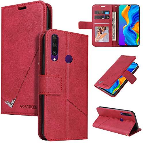 Snow Color Huawei P30 Lite/nova 4e Hülle, Premium Leder Tasche Flip Wallet Case [Standfunktion] [Kartenfächern] PU-Leder Schutzhülle Brieftasche Handyhülle für Huawei P30Lite - COYKB060398 Rot