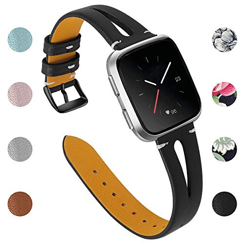 Joyozy Leather Bands Compatible with Fitbit Versa 2&Versa Lite&Fitbit Versa&Fitbit Versa SE Smartwatch Slim Wristbands Replacement Women Men Breathable Triangle Hole Strap(Black with Black Buckle)