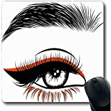 Mousepads Modell Schwarz Salon Augenbrauen Wimpernverlängerung Pflege Nahaufnahme Kosmetik Doppelbelichtung Mädchen Längliche Form 18X22 Cm Rutschfeste Gaming-Mausunterlage