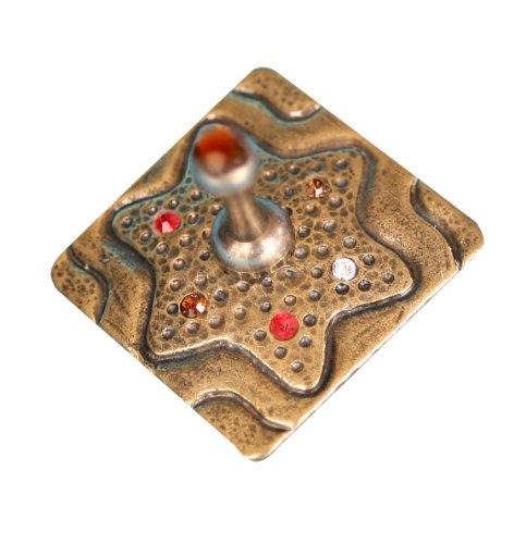 Lowest Price! Hanukkah Chanukkah Square Dreidel With Star Of David & Colorful Stones Orange Stone On...