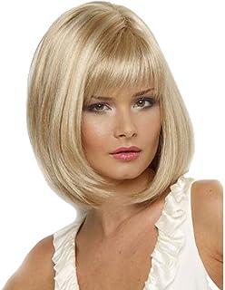 ウィッグ女性の短いブロンドショートヘア女性のための非カーリー合成ヘアファイバーボブウィッグ - コスプレとコスチュームパーティーに適しています