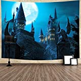 Night Vampire Castle Tapestry Gothic City Full Moon Night Scenery 80''X60'' Wall Hanging for Bedroom Living Room Home Decor GTZDTY12