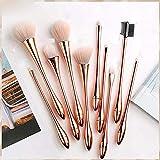 Fanxp 10 Ensemble de pinceaux de maquillage en or rose, ensemble complet de pinceaux à paupières super doux Blush poudre libre Lady Beauty Tools