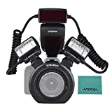 YONGNUO YN24EX E-TTL Speedlite Flash Macro 5600K con Las Cabezas 2pcs Flash y...