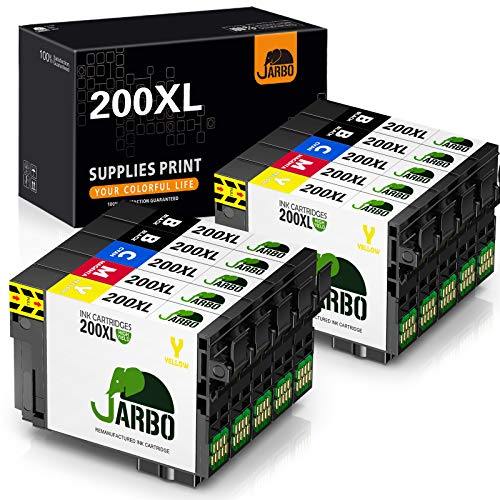 JARBO Remanufactured Ink Cartridge Replacement for Epson 200 XL 200XL to use with for XP-200 XP-310 XP-400 XP-410 XP-300 WF-2520 WF-2540 WF-2530 Printer, 10-Pack (4 Black, 2 Cyan, 2 Yellow, 2 Magenta)