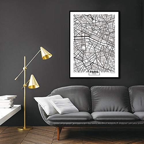 Pintura al óleo Londres, Nueva York, París, Madrid, Viena, Bruselas, negro, blanco, mapa de la ciudad, póster, lienzo impreso, pintura, imagen, arte de pared, decoración del hogar 50x75cm