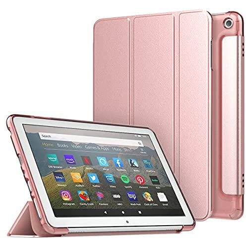 MoKo Hülle Kompatibel mit All-New Fire HD 8 Tablet and Fire HD 8 Plus Tablet (10th Generation, 2020 Release), mit Auto Schlaf/Aufwach Transluzente Matte Rückseite Ecken/Bumper Schutzhülle - Rose Gold
