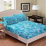 Juego de sábanas con estampado de agua, textura de agua en la piscina, sábana bajera ajustable moderna, juego de cama de microfibra para niños (1 sábana bajera + 1 funda de almohada) tamaño individual